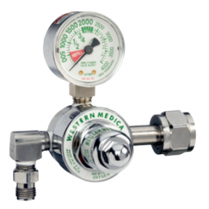 Western Medical M1-320-P Single Stage Carbon Dioxide Pressure Regulator Preset to 50 PSI with 90 Degree Outlet
