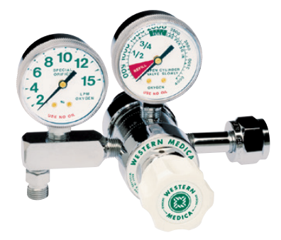 Western Medical Oxygen Flow Control Regulator, M1-540-8FG, Single Stage Preset, 1-8 LPM