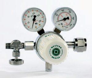 Western Medical MSH180940 Laboratory Style Adjustable 0-180 PSI Medical Gas Mixtures Pressure Regulator