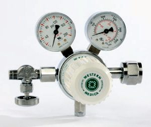 Western Medical MSH180950 Laboratory Style Adjustable 0-180 PSI Medical Gas Mixtures Pressure Regulator