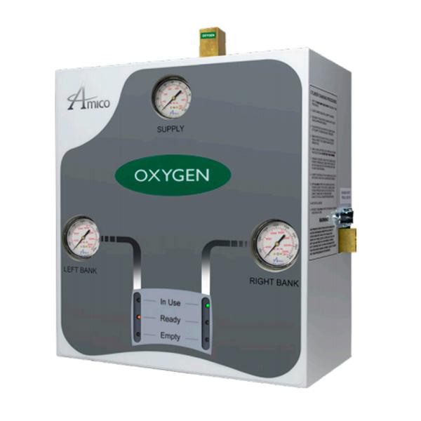Amico Oxygen Automatic Dome Loaded Analog Manifold M3A-DL-HHH-U-OXY, Side View