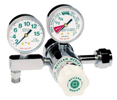 Western Medical Oxygen Flow Control Regulator, M1-540-8FGH, Single Stage Preset, 1-8 LPM