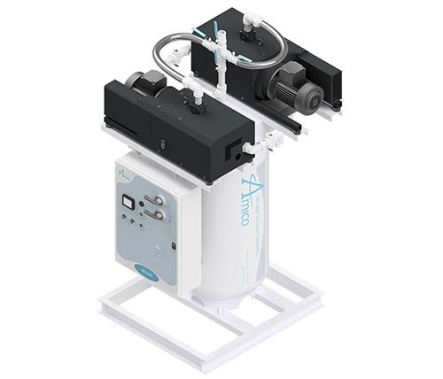 Amico Medical Contact-less Claw Vacuum Pump, Duplex CCD Vertical Tank Mount