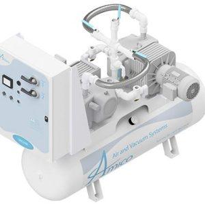 Amico Medical Dry Rotary Vane Vacuum Pump, Duplex RVD Horizontal Tank Mount
