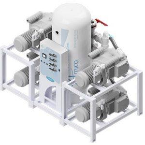 Amico Medical Dry Rotary Vane Vacuum Pump, Quadruplex RVD Modular Stack Mount