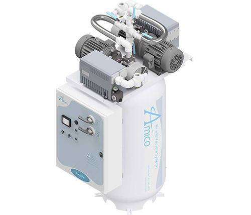 Amico Medical Lubricated Rotary Vane Vacuum Pump, Duplex RVL Vertical Tank Mount
